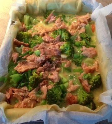 Broccolitærte med laks