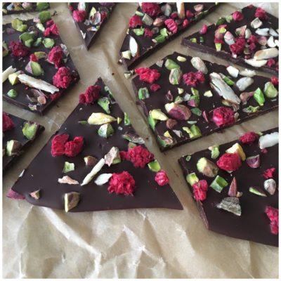 Chokoladebrud med hindbær