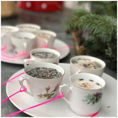 Guf til fuglene i smukke gamle kopper